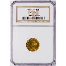 1850-O $2 1/2 Liberty Head Quarter Eagle Gold Coin NGC AU55
