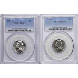 Lot of 1961 & 1961-D Jefferson Nickel Coins PCGS MS65