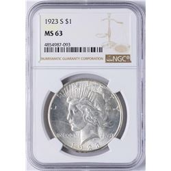 1923-S $1 Peace Silver Dollar Coin NGC MS63