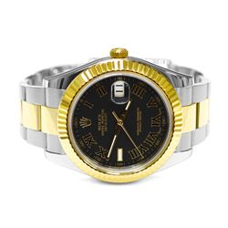 Rolex Mens Datejust II 18KT Yellow Gold & Steel 41mm Grey Roman Dial Watch