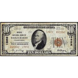 1929 $10 Miners NB of Wilkes Barre, PA CH# 13852 National Currency Note