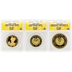 Lot of (3) 1994-1995 Uzbekistan Proof Coins ANACS PF65/PR69
