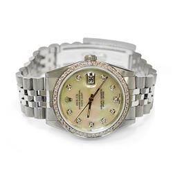 Rolex Mens Datejust Steel 36mm MOP Diamond Dial Watch