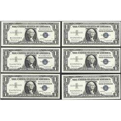 Lot of (6) 1957B $1 Silver Certificate Notes