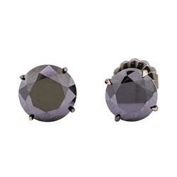 14KT White Gold with Black Rhodium 3.00 ctw Black Diamond Stud Earrings