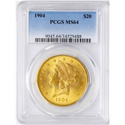 1904 $20 Liberty Head Double Eagle Gold Coin PCGS MS64