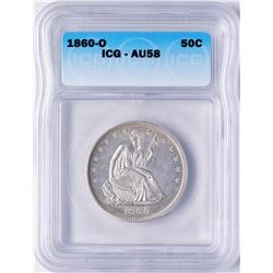 1860-O Seated Liberty Half Dollar Coin ICG AU58