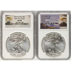 Lot of 2014-2015 $1 American Silver Eagle Coins NGC MS69 First Releases