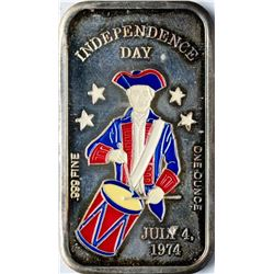 July 4, 1974 Independence Day Enamel Silver Art Bar