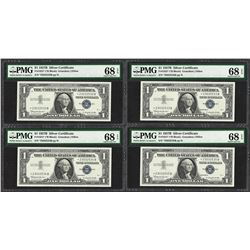 (4) Consecutive 1957B $1 Silver Certificate STAR Notes PMG Superb Gem Unc. 68PPQ
