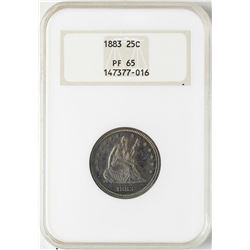 1883 Proof Seated Liberty Quarter Coin NGC PF65