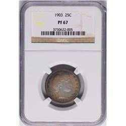1903 Proof Barber Quarter Coin NGC PF67