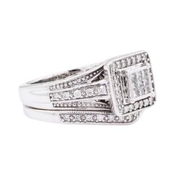 10KT White Gold 0.50 ctw Diamond Wedding Set