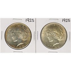 Lot of (2) 1925 $1 Peace Silver Dollar Coins