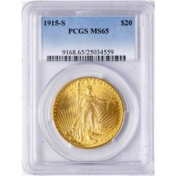 1915-S $20 St. Gaudens Double Eagle Gold Coin PCGS MS65
