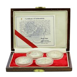 1990 China Goldfish (4) Piece Commemorative Silver Medal Set