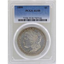 1899 $1 Morgan Silver Dollar Coin PCGS AU55