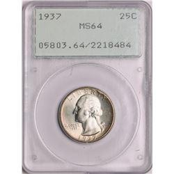 1937 Washington Quarter Coin PCGS MS64 Old Green Rattler