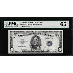 1953B $5 Silver Certificate Note Fr.1657 PMG Gem Uncirculated 65EPQ