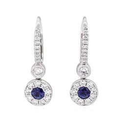 18KT White Gold 1.22 ctw Sapphire And Diamond Halo Earrings