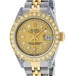 Rolex Ladies Two Tone 14K Champagne Diamond Datejust Wriswatch