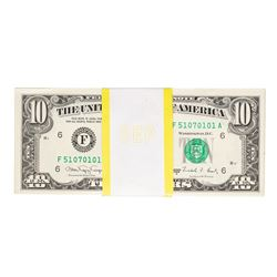 Pack of (100) 1988A $10 Federal Reserve Notes Atlanta