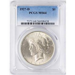 1927-D $1 Peace Silver Dollar Coin PCGS MS64
