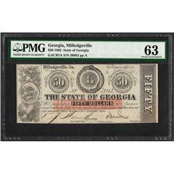 1863 $50 The State of Georgia Obsolete Note PMG Choice Uncirculated 63