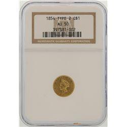 1854 Type 2 $1 Indian Princess Head Gold Dollar Coin NGC AU50
