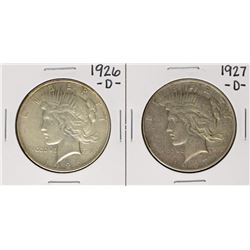 Lot of 1926-D & 1927-D $1 Peace Silver Dollar Coins