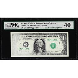 2009 $1 Federal Reserve Note Chicago Insufficient Inking ERROR PMG Extremely Fin