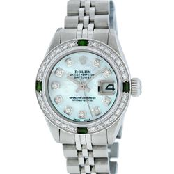 Rolex Ladies Stainless Steel Blue MOP Diamond & Emerald Datejust Wristwatch