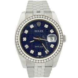Rolex Mens Datejust Stainless Steel 36mm Blue and Grey Diamond Dial Watch