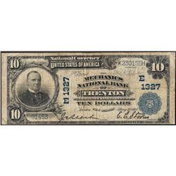 1902 $10 National Bank of Trenton, NJ CH#1327 National Currency Note