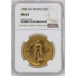 1908 $20 No Motto St. Gaudens Double Eagle Gold Coin NGC MS63
