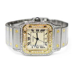 Cartier Ladies Santos Galbée 18KT Yellow Gold & Steel 29mm Silver Roman Dial Wat