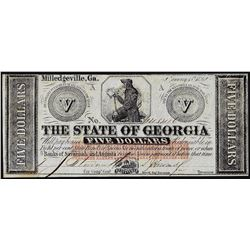 1862 $5 The State of Georgia Obsolete Note