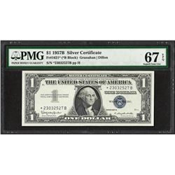 1957B $1 Silver Certificate STAR Note Fr.1621* PMG Superb Gem Uncirculated 67PPQ