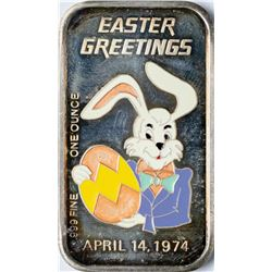 April 14, 1974 Easter Greetings Enamel Silver Art Bar