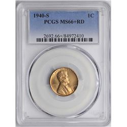 1940-S Lincoln Wheat Cent Coin PCGS MS66+RD
