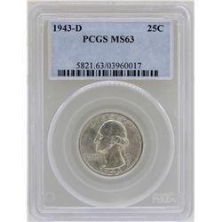 1943-D Washington Quarter Coin PCGS MS63