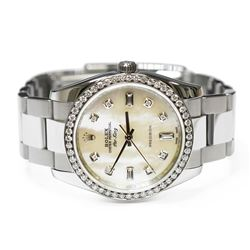 Rolex Mens Air King Stainless Steel 34mm MOP Diamond Dial Watch