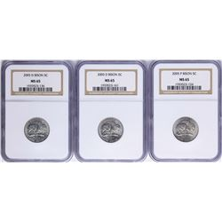 Lot of (3) 2005 Bison Nickel Coins NGC MS65