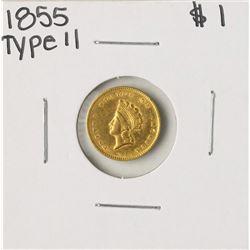 1855 Type II $1 Indian Princess Head Gold Dollar Coin