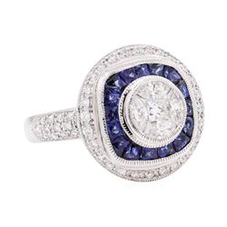 18KT White Gold 2.19 ctw Sapphire and Diamond Ring
