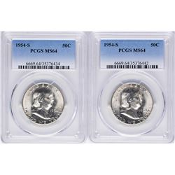 Lot of (2) 1954-S Franklin Half Dollar Coins PCGS MS64