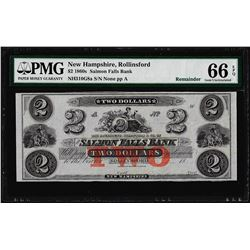 1850-60's $2 Salmon Falls Bank Obsolete Note PMG Gem Uncirculated 66EPQ
