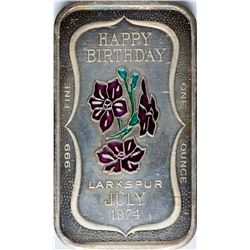 July 1974 Happy Birthday Enamel Silver Art Bar
