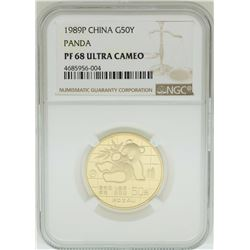 1989P China 50 Yuan Panda Gold Coin NGC PF68 Ultra Cameo