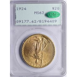 1924 $20 St. Gaudens Double Eagle Gold Coin PCGS MS62 CAC Old Rattler Holder